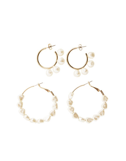 2-pack of pearl bead hoop earrings