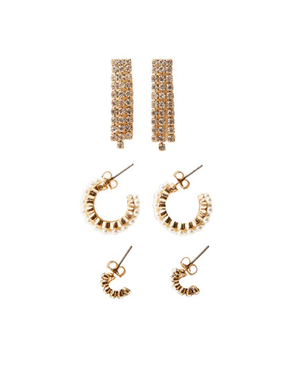 3-pack of rhinestone earrings