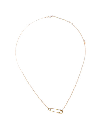 Gold safety pin necklace
