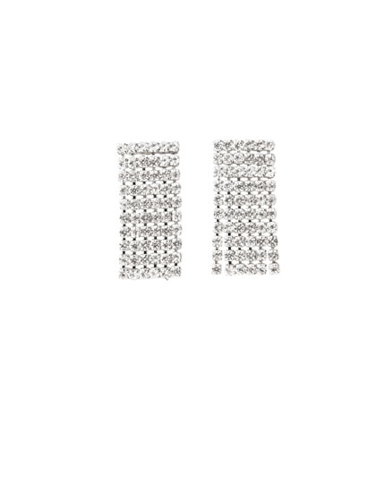 Bejewelled rectangular earrings