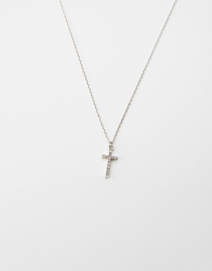 Bejewelled cross necklace