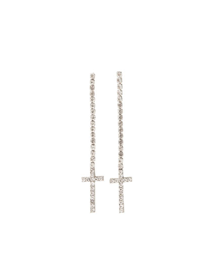 Cross earrings with rhinestones