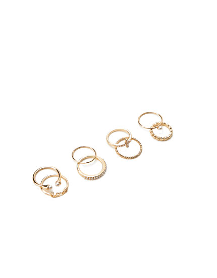 Pack of 8 faux pearl rings