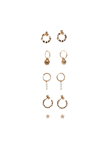 5-pack of rhinestone and faux pearl earrings