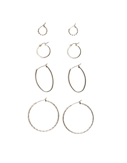 4-pack of spiral hoop earrings