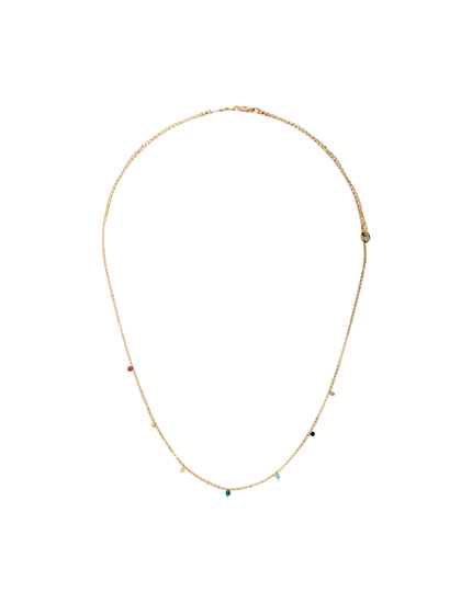 Gold-coloured necklace with multicoloured stones