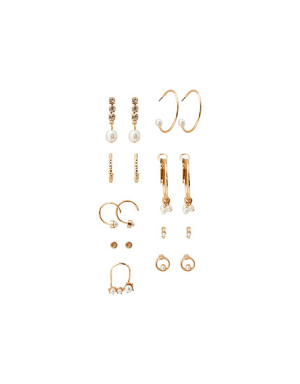 9-pack of pearl earrings