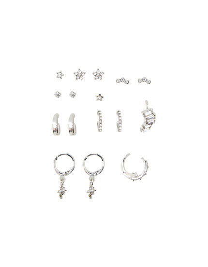 9-pack of shiny earrings