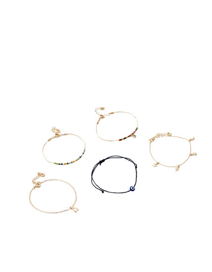 5-pack of bracelets with eye charms