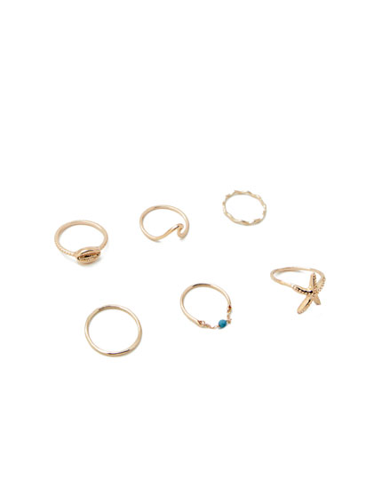 Pack of 7 sea-themed rings