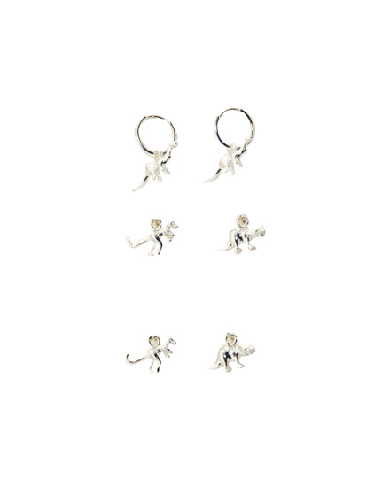 Pack of silver-coloured dinosaur earrings