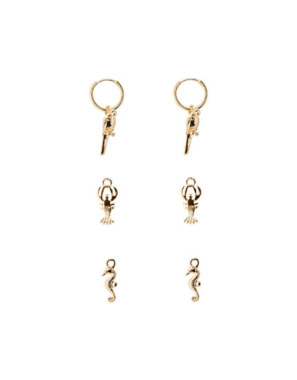 Pack of lobster charm earrings