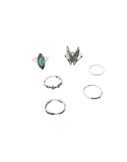 Pack of 6 butterfly rings