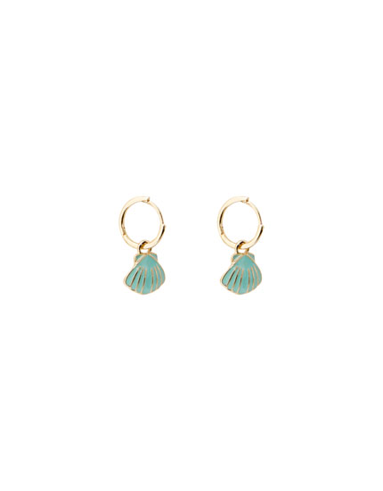 Gold-toned earrings with seashell charms