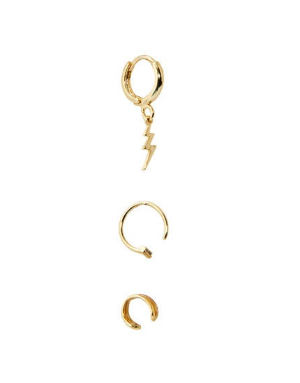 Pack of gold-plated lightning bolt earrings