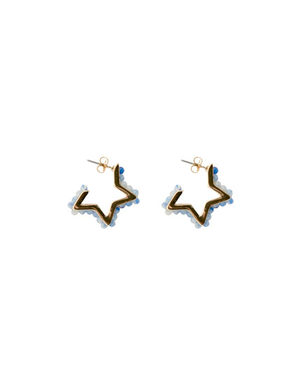 Star earrings with blue beading