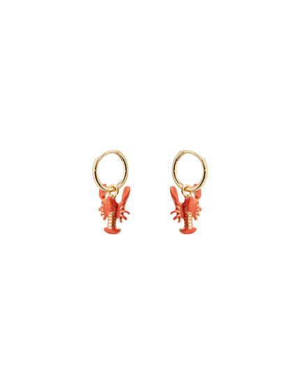 Gold-toned lobster charm earrings