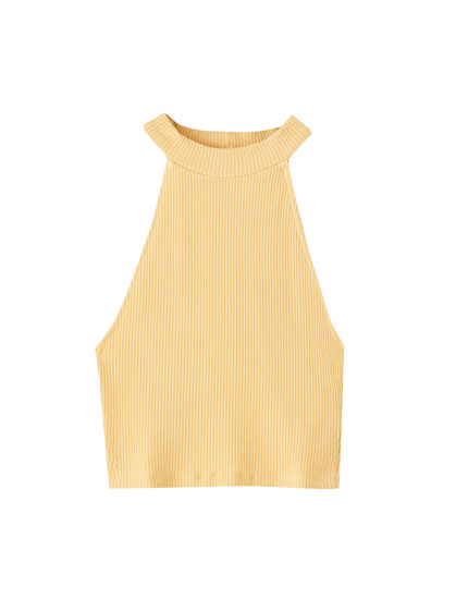 Ribbed halter neck top