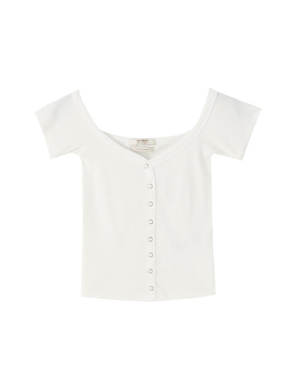 Buttoned boatneck T-shirt