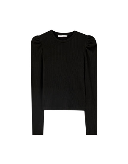 Ribbed T-shirt with puff sleeves