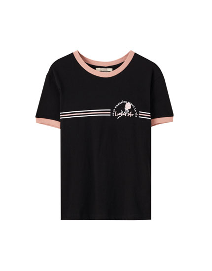 Ribbed T-shirt with rose illustration