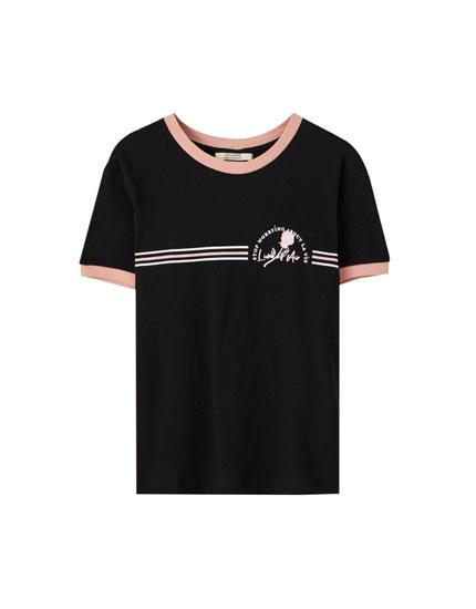 T-shirt bord de côte rose