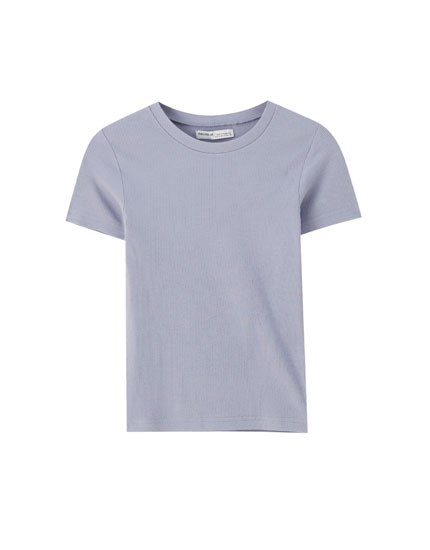 Coloured ribbed T-shirt