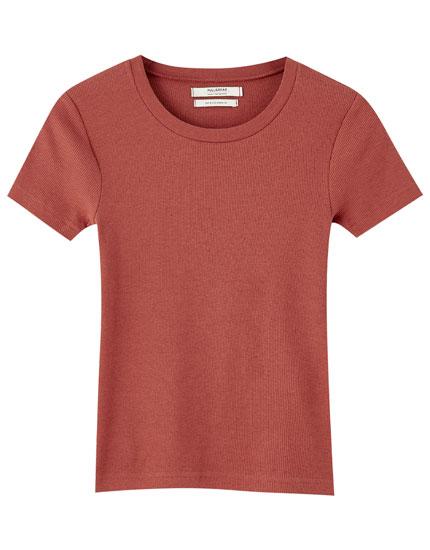 T-shirt maille côtelée couleurs