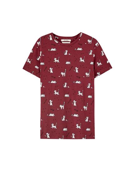 Camiseta print gatito ovillo