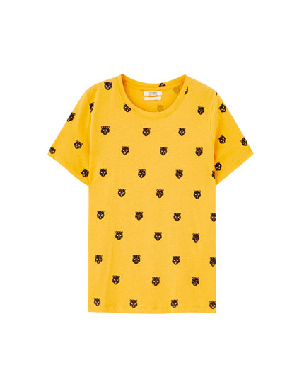 T-shirt jaune imprimé léopards