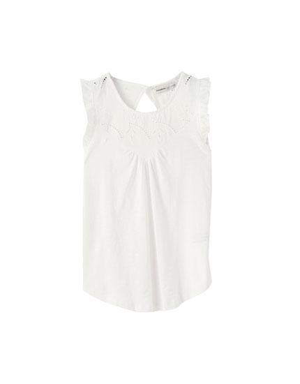 Αμάνικη μπλούζα με γκιπούρ