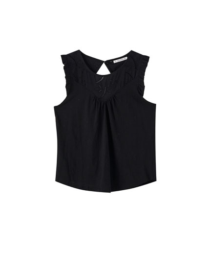 Sleeveless top with Swiss embroidery