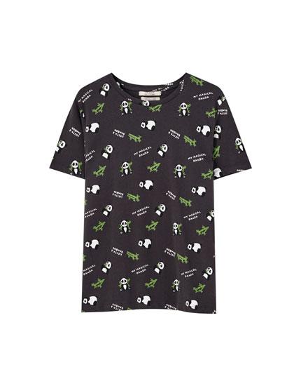 Panda bear print T-shirt