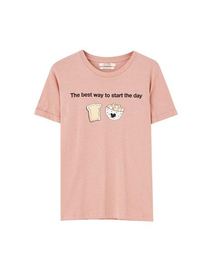 Slogan and illustration T-shirt