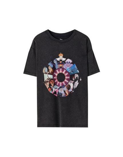 Black T-shirt with villains illustration