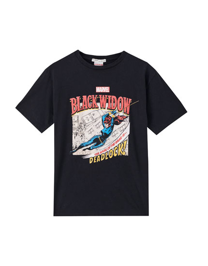 Black T-shirt with Black Widow print