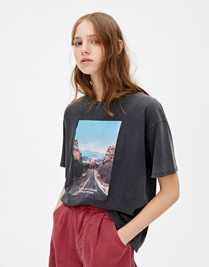 Faded T-shirt with road illustration
