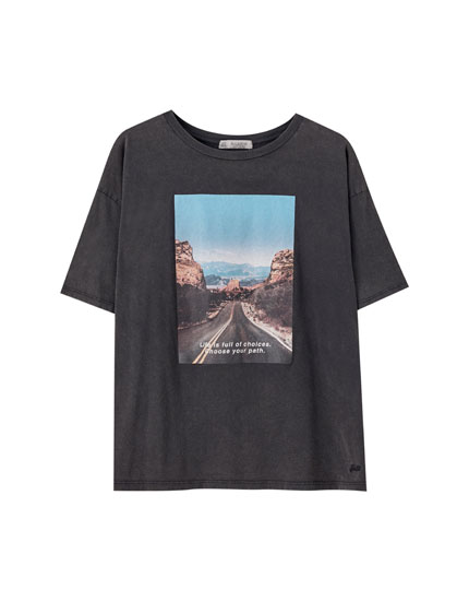 T-shirt with road illustration and slogan