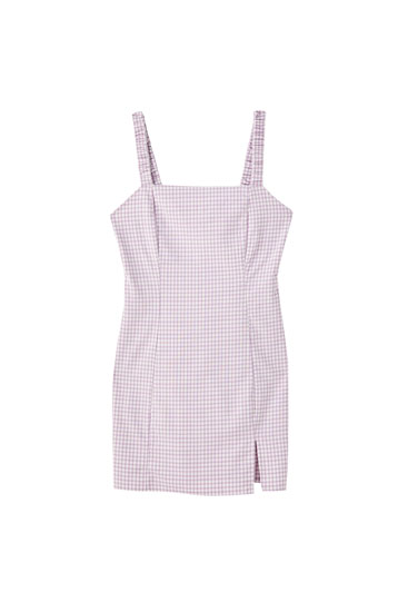 Lilac gingham check dress