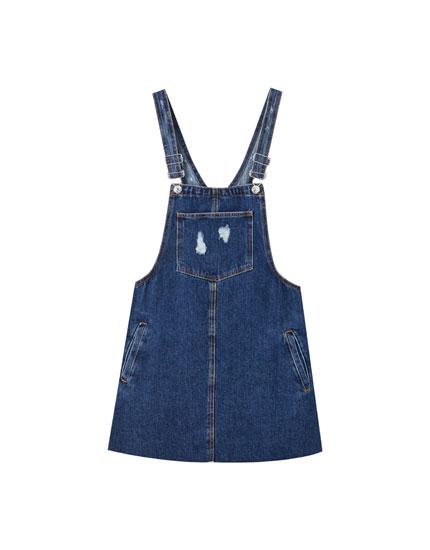 Jeans-Latzhose mit Taschen