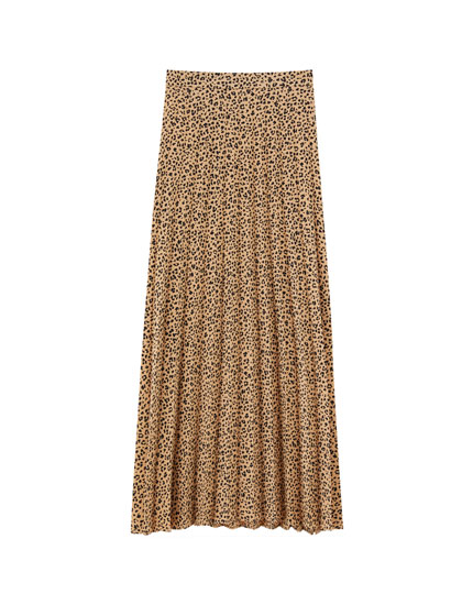 Pleated animal print midi skirt