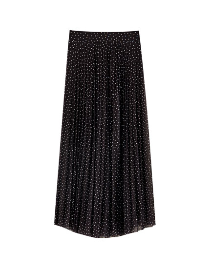 Printed pleated tulle skirt