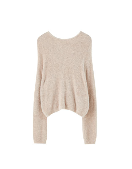 Basic faux fur sweater