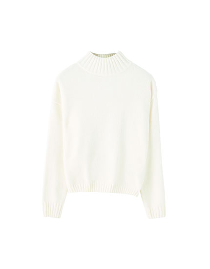 Pull basique col montant chenille