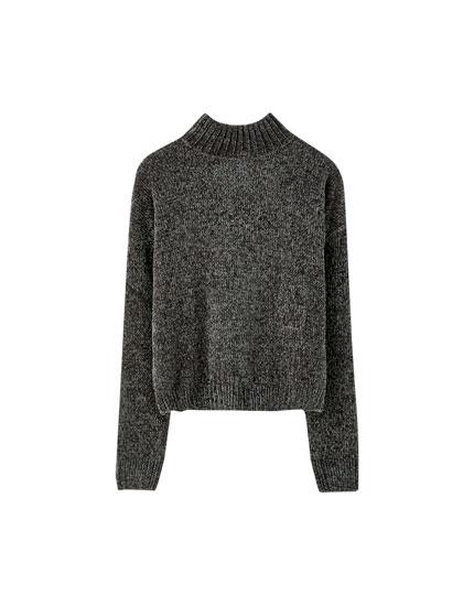 Basic chenille high neck sweater