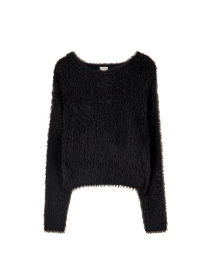 Basic cropped faux fur sweater