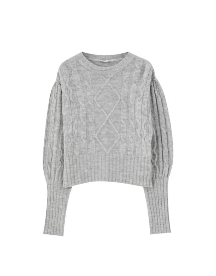 Full sleeve cable knit sweater