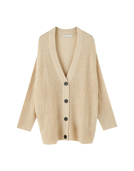 Basic knit button-up cardigan
