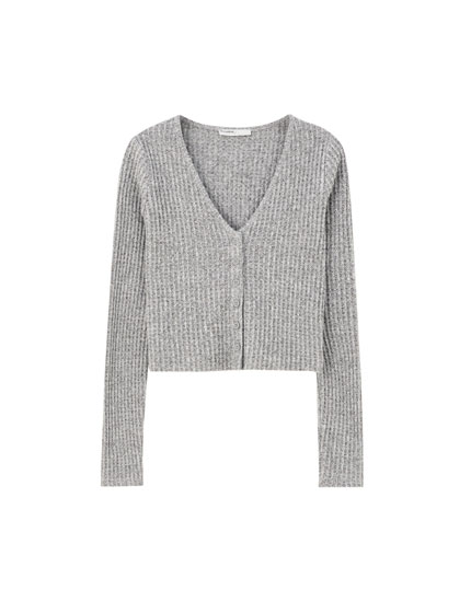 Basic check texture cardigan