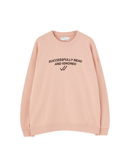 Basic contrast slogan sweatshirt